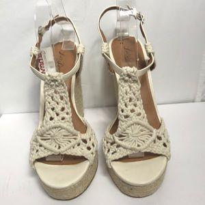 Lucky Brand Wedge Espadrille Crochet Sandals